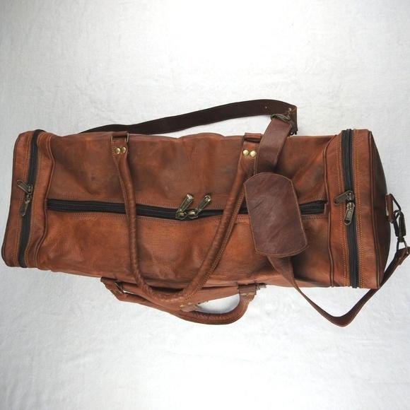 New Men/'s duffel Lightwieght genuine Leather large vintage travel gym Squre bag